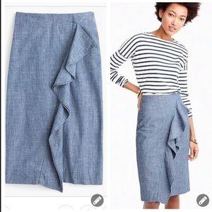 Jcrew chambray crossover ruffle pencil skirt #204